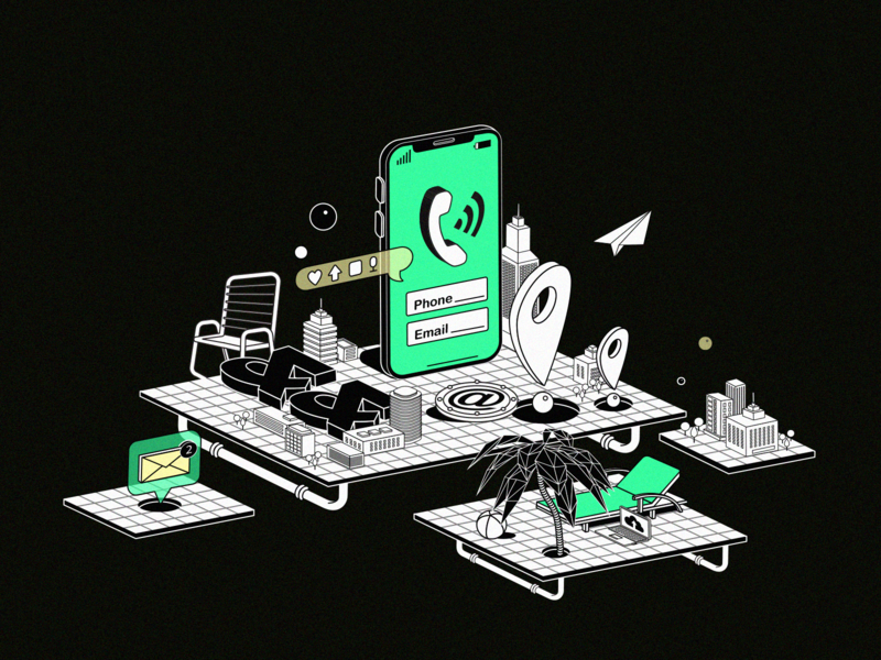What's up, Dribbblers? creative lineart graphic team contact socials vibes builds offices location chill bussines email phone contacts ui blackandwhite design vector illustration
