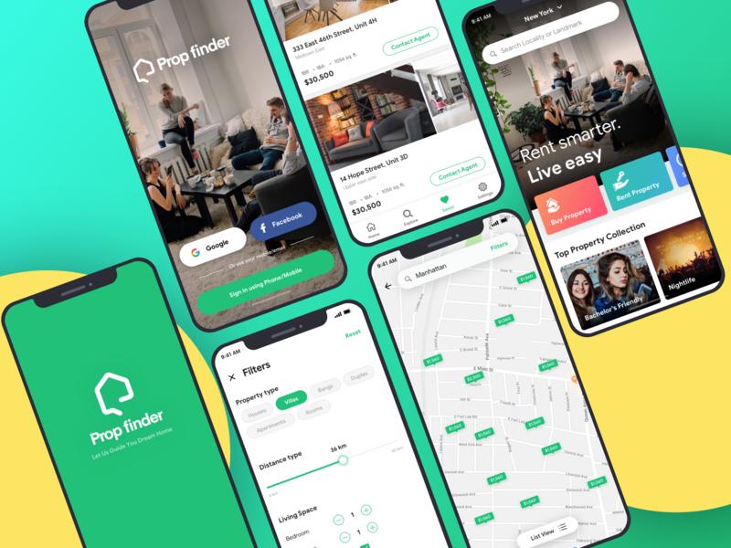 Real Estate UI Kit type clean icon flat ux design ui mobile minimal ios app