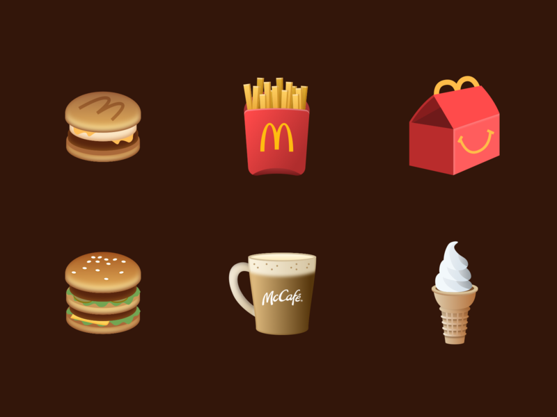 McDonald's Icon Design realistic icon design fastfood breakfast mccafe icecream happy meal french fries hamburger icon logo