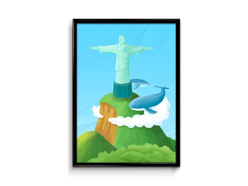 Another Cristo Redentor Expression whale cristo redentor rio illustration print poster