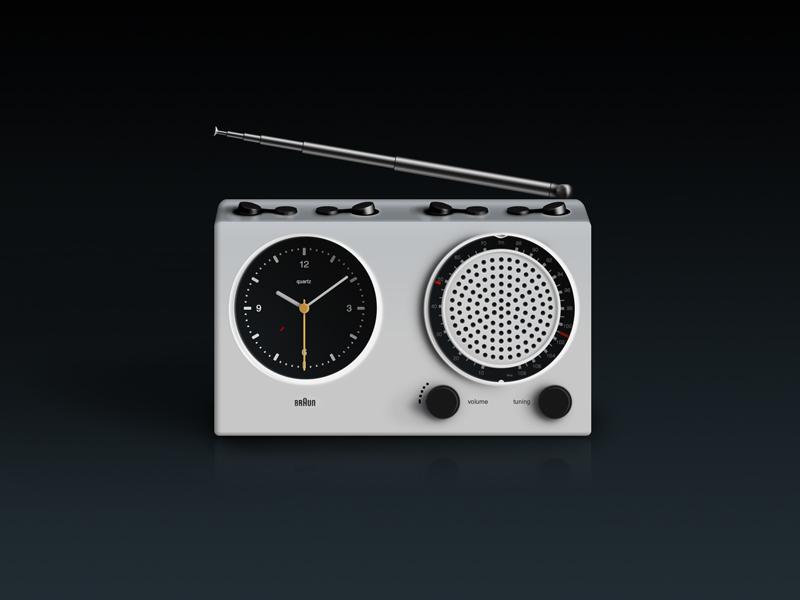 Braun Clock Radio in Skeuomorphism braun skeuomorphism dieter rams abr21
