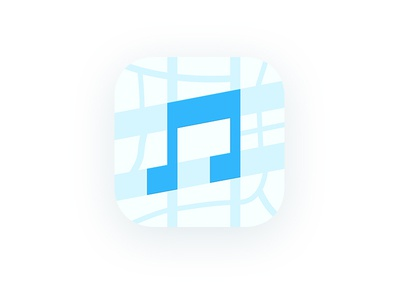 Music Map iphone flat logo music app map app map icon app icon app ios map music icon