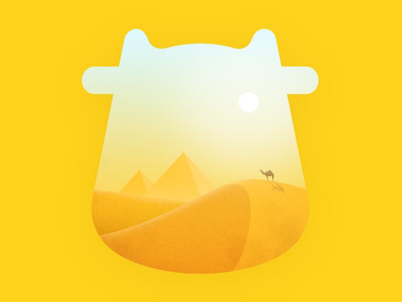 Egypt Desert camel graphic pyramid yellow visual illustration landscape desert egypt