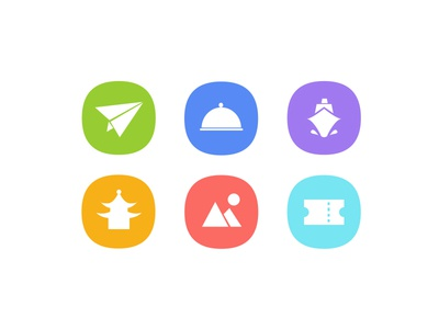 Icons about traveling flat cruise flight chinese hotel ticket traveling vacation trip icon