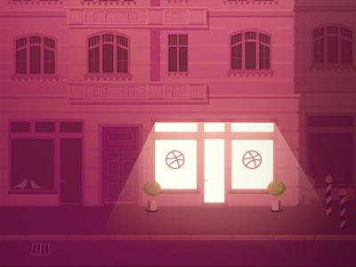 Hello everyone! debut dribbble lasseundbosse night nighttime pink shop building urban street city house window glow illustration first shot thanks open