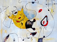 Cats in Different Art Styles - Inspired by Joan Miro