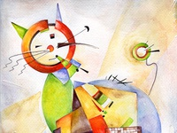 Cats in Different Art Styles - Inspired by Wassily Kandinski
