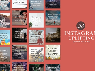30 Free Instagram Uplifting Quotes PNG & PSD Templates