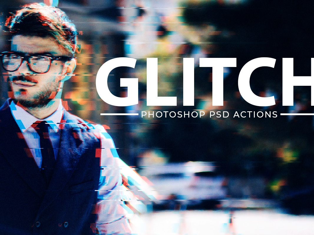 Free Glitch Effect & Vhs Effect Photoshop Template PSD by