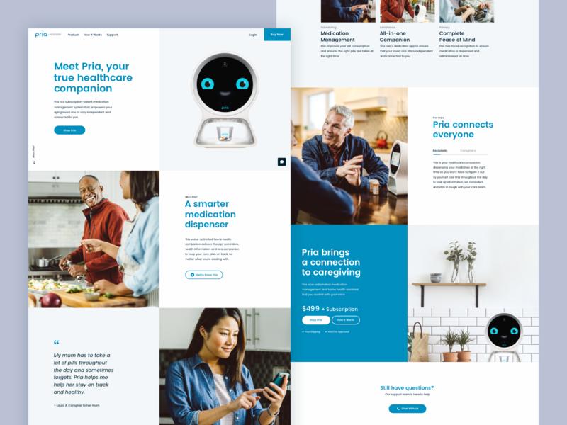 Pria Homepage website ui 829 creative dan fleming design
