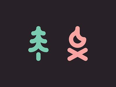 Tree/Fire campfire tree icons iconography linework creative design dan fleming