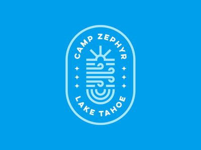Camp Zephyr water wind sun stars badge logo creative design dan fleming