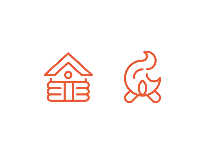 Cody icons cabin fire dribbble