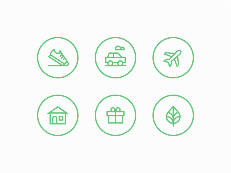 Carbon Offset icons carbon linework brand identity icon set 829 creative design dan fleming