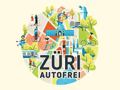 Zurich carfree urban development bicycle zürich car free