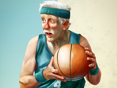 Old but not defeated badsketball gersome old ball art visualdevelopment characterdesign illustration