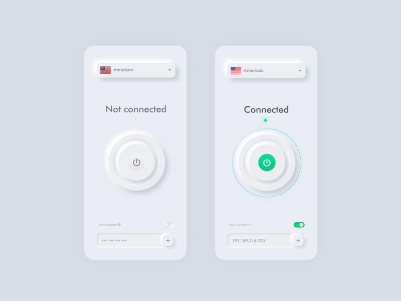 Neumorphism ui design for VPN ui vpn vpn app neumorphism