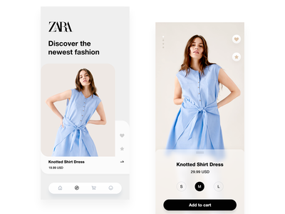 Zara fashion app ui