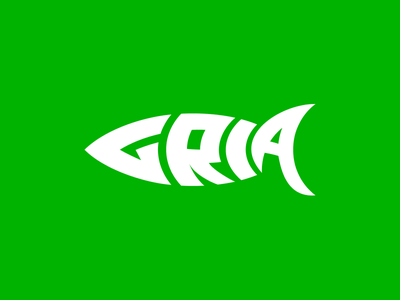 Gria fishing fish symbol flat auburnbear logotype identity logo
