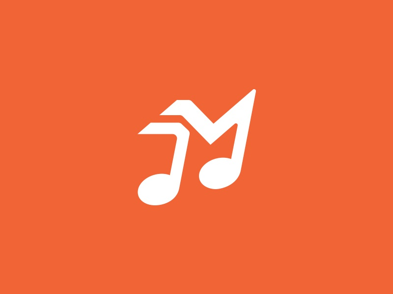 Melody move delivery logo mark logotype melody move note music m icon