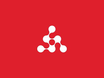 Atom cell crystal crystal cell triangle red molecule pyramid atom logotype mark logo