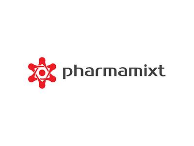 Pharmamixt red pharmaceutical technology identity icon logotype branding star pharma medical mark logo