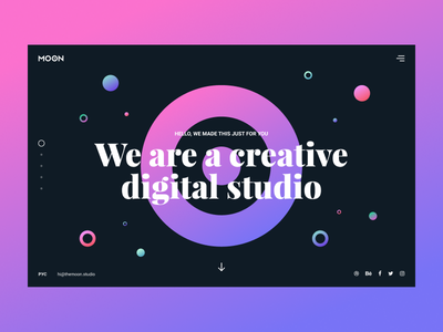 The Moon Studio design studio circle color gradient website web ux ui minimal fullscreen desktop