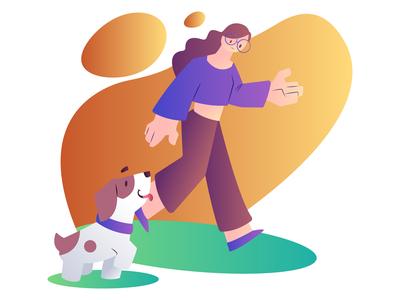 Walk With Dog- Dog Care Illustration