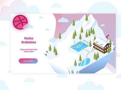 Hello Dribbble vector design illustration clouds ski snow chalet basketball mountain debut