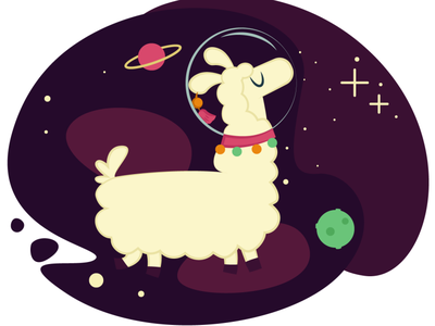 Space Alpaca llamas escapism spaceman space llama alpaca illustration design vector 2d art