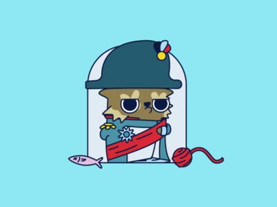 Catmiral fierce napoleon admiral cat illustration design vector 2d art