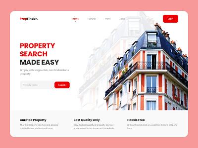 Property Finder Landing Page logo website web design 3d ux uiuxdesigner uiux ui minimal app