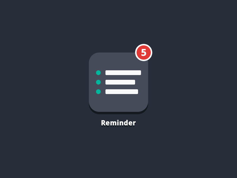Reminder App Icon html html5 css css3 app reminder icon list notification codepen flat simple