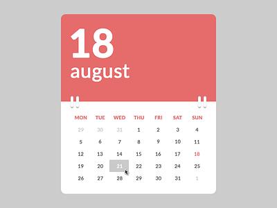 Calendar (.psd, HTML & CSS) html html5 css css3 table calendar widget codepen flat