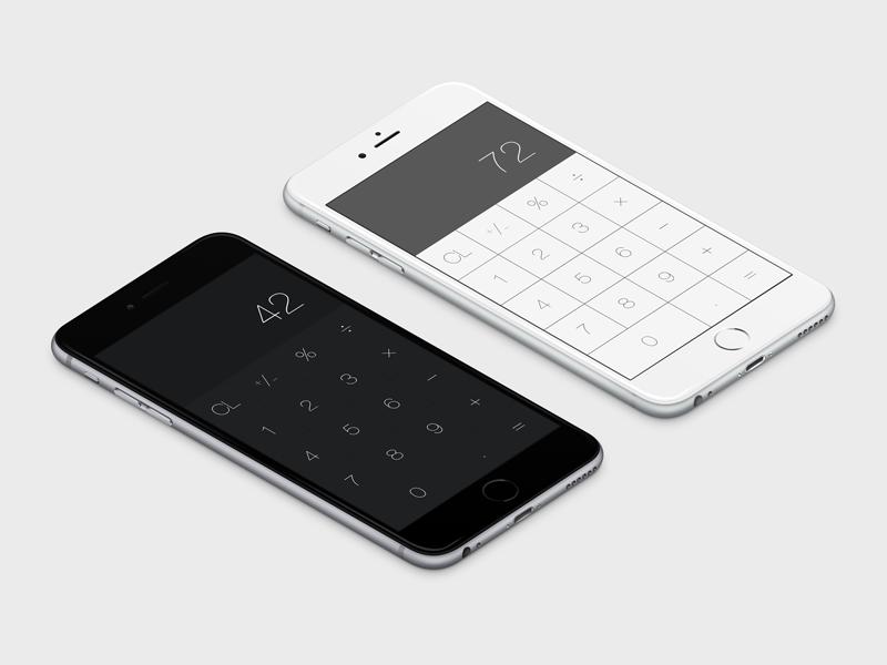 Calculator App dark & light on iPhone 6 Plus by Marco Biedermann on