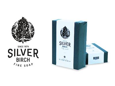 Silver Birch Fine Soap packaging package woodcut vintage illustration branding vector icon logo design
