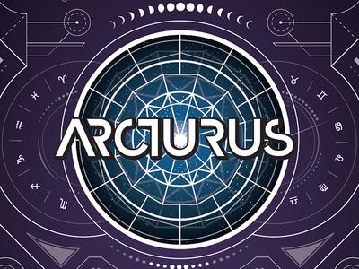 Arcturus blue purple linework typography branding detail moon stars astrology type vector design