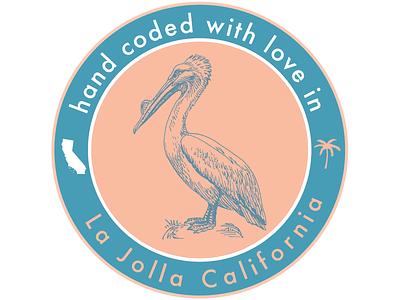 hand coded with love in La Jolla, California graphic design la jolla california pelican