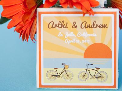 Arthi & Andrew - April 20, 2013 la jolla california beach wedding bikes beach cruisers sunset gerbera daisies ocean