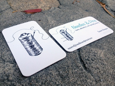 Needles & Pins Business Cards needles pins sewing hems alterations specialty sewing cards for mom logo type spool needles  pins