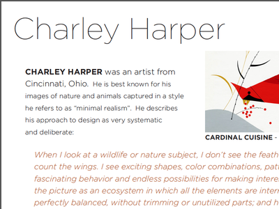 Charley Harper page (crop) from Graphic Design Art History Book gotham charley harper typography cardinal bookdesign art history graphic design
