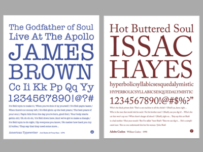 Soulful Type - Type Specimen Book typography american typewriter adobe caslon type specimen book james brown issac hayes soul