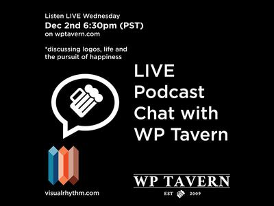 LIVE Chat with WP Tavern podcast wptavern design logos wordpress