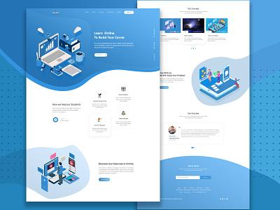 Online Course Landing Page educational illustration education web onlinecourse education gradient graphic  design brand book design webdesign ui  ux ui landing page illustration