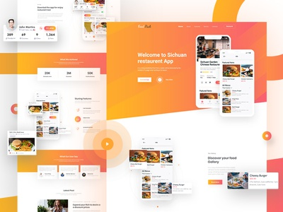 Food App Landing Page Design restaurant design iphonex fast food website app design clean app ux design uidesign restaurant restaurant app receipe menu food food app landing page webdesign