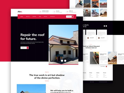 Roofing Contractor Landing Page illustration web architecture website rentals properties mortgage home builder housing property rent interior minimal typography home house real estate architecture business construction contractor