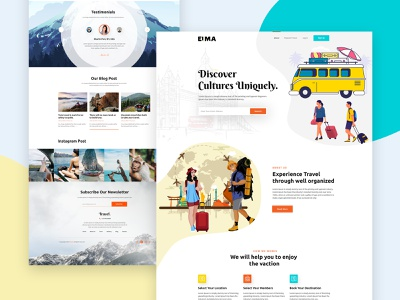 Travel website Home Page agency landing  page typogaphy clean homestay annimation illustration ux landing page ui webdesign minimal vacations travel guide travel agency visit hotel travel landing page tour travel landing page