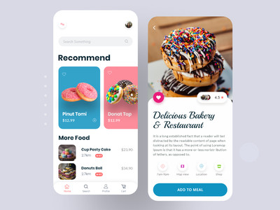 Donuts App Ui mockup mobile ui mobile animal agency design typography application restaurant app product app product landing page landing page ui minimal donut food catering app donuts app ui