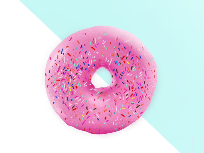 Pink Donut procreate pastel pink sprinkles donut illustration