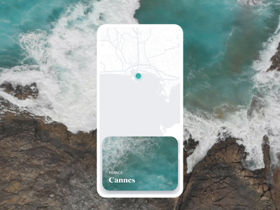 Travel App ui design video map waves beach mobile ui mobile app mobile travel animation motion design motion
